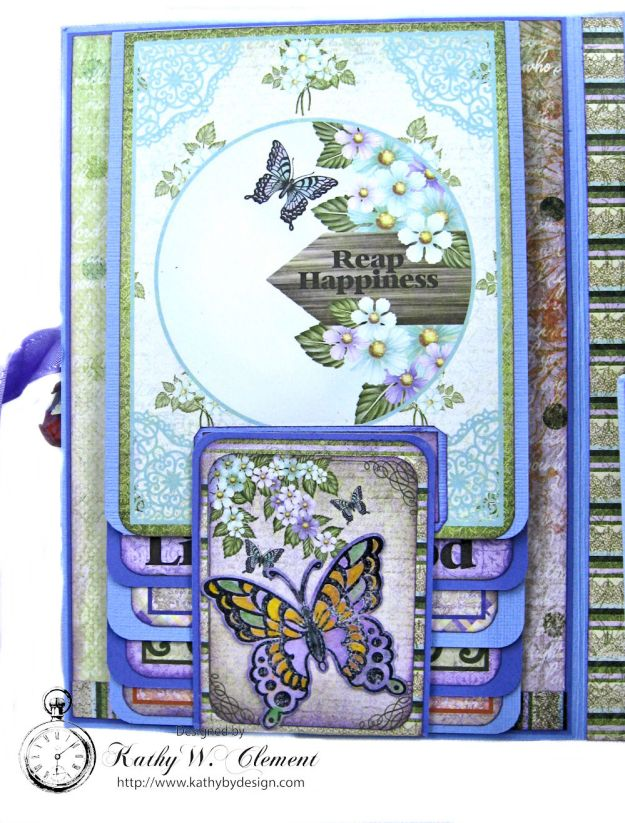 Butterfly Medley Vintage Purple Roses Trifold Folio Tutorial Kathy