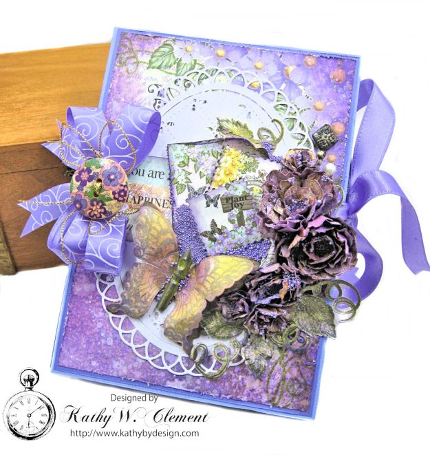 Purple Vintage Roses Tri Fold Folio Tutorial Butterfly Medley by Kathy Clement Product by Heartfelt Creations Photo 1