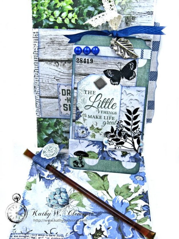 Blooming Blue Bicycle Greeting Card Wandering Ivy by Kathy Clement Product by Kaisercraft Photo 07
