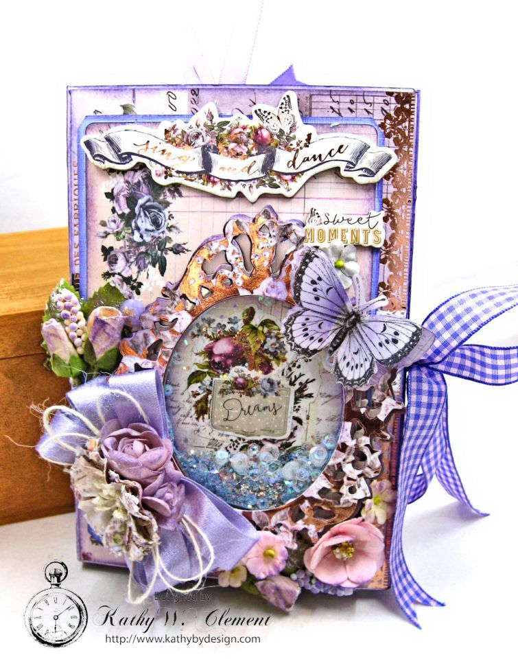 Prima Lavender Blooming Marvelous Flip Folio by Kathy Clement for The Funkie Junkie Boutique Photo 01