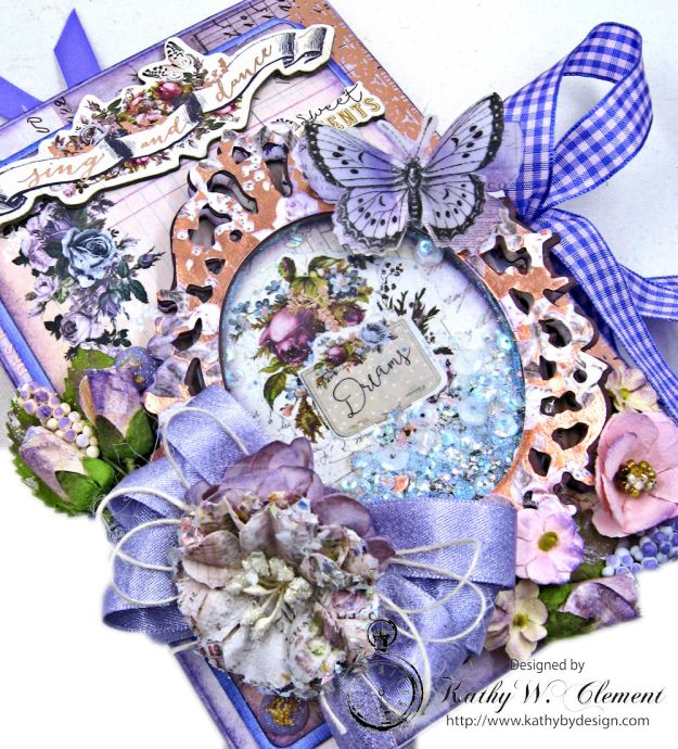Prima Lavender Blooming Marvelous Flip Folio by Kathy Clement for The Funkie Junkie Boutique Photo 04