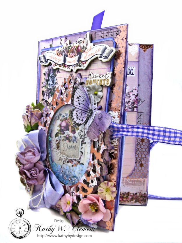 Prima Lavender Blooming Marvelous Flip Folio by Kathy Clement for The Funkie Junkie Boutique Photo 05