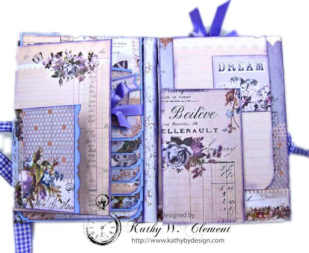 Prima Lavender Blooming Marvelous Flip Folio by Kathy Clement for The Funkie Junkie Boutique Photo 07