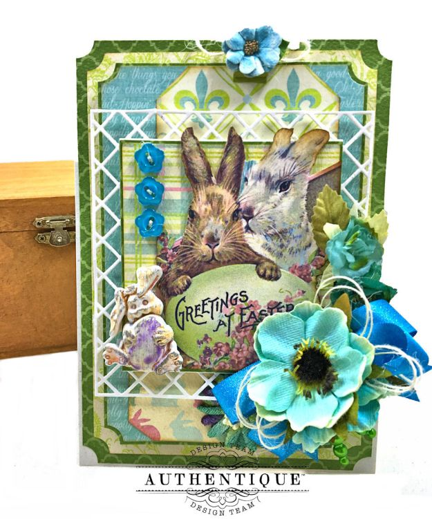 Blue Bunnies Vintage Style Easter Card Springtime by Kathy Clement for Really Reasonable Ribbon Product by Authentique Paper Photo 01