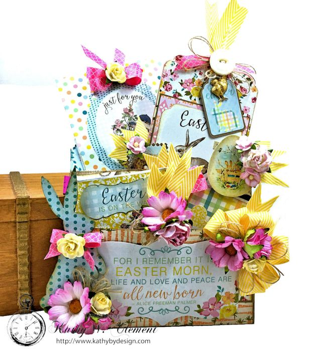Shabby Chic Paper Bag Pocket Easter Card Eastertime by Kathy Clement for Really Reasonable Ribbon Product by Authentique Photo 01