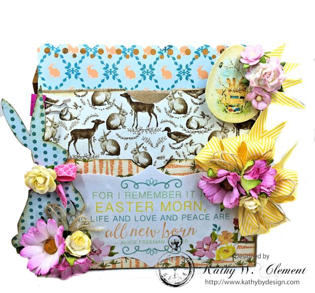Shabby Chic Paper Bag Pocket Easter Card Eastertime by Kathy Clement for Really Reasonable Ribbon Product by Authentique Photo 06