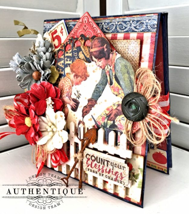 Country Blessings Folio Tutorial Frontier by Kathy Clement Product by Authentique Paper Photo 03