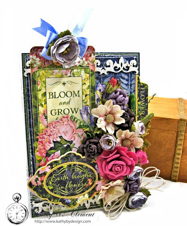 Earth Laughs in Flowers Card Folio Tutorial Flower Shoppe by Kathy Clement for Little Birdie Crafts Product by Graphic 45 Photo 01