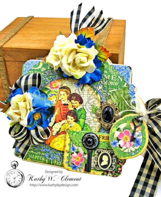 Little Women Square Tag and Clock Die Mini Folio Tutorial Little Women by Kathy Clement for Frilly and Funkie Product by Graphic 45 Photo 02