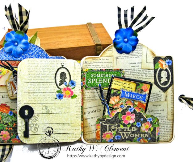 Little Women Square Tag and Clock Die Mini Folio Tutorial Little Women by Kathy Clement for Frilly and Funkie Product by Graphic 45 Photo 07