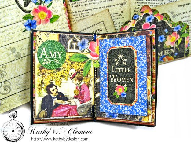 Little Women Square Tag and Clock Die Mini Folio Tutorial Little Women by Kathy Clement for Frilly and Funkie Product by Graphic 45 Photo 10