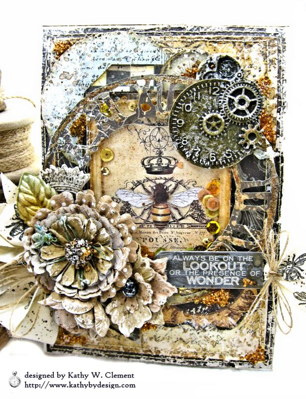 Mixed Media Honeybee All Occasion Shaker Card Alchemy by Kathy Clement Product by Stamperia Photo 03