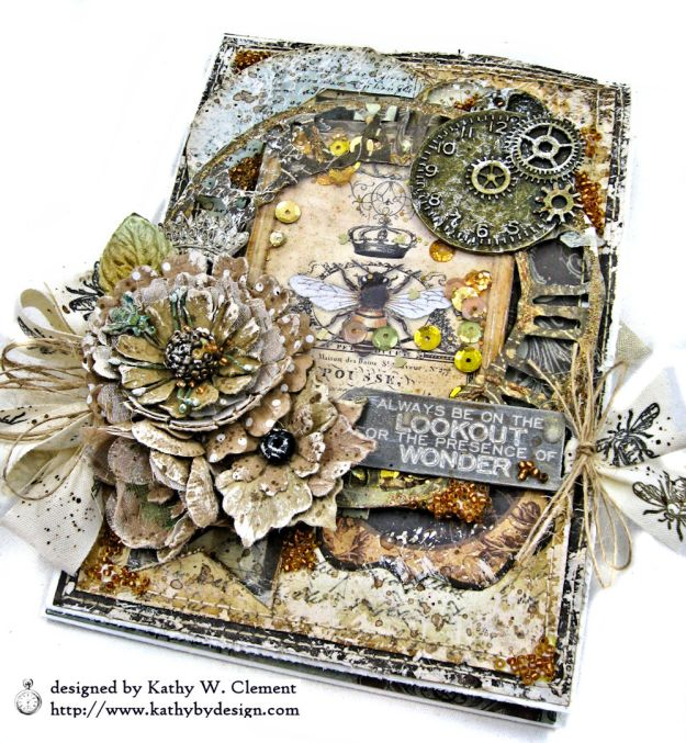 Mixed Media Honeybee All Occasion Shaker Card Alchemy by Kathy Clement Product by Stamperia Photo 06