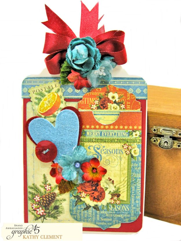 Graphic 45 Seasons Altered Mini Crate and Tags by Kathy Clement Photo 11