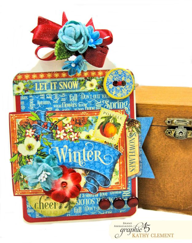 Graphic 45 Seasons Altered Mini Crate and Tags by Kathy Clement Photo 13