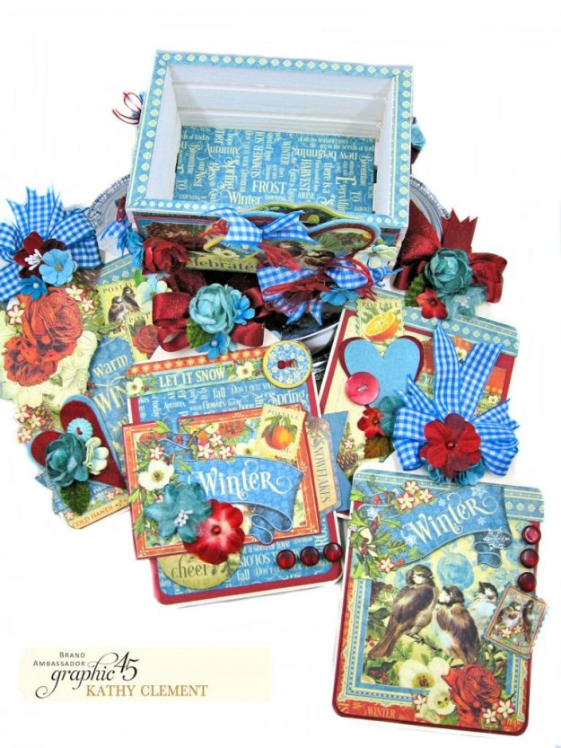 Graphic 45 Seasons Altered Mini Crate and Tags by Kathy Clement Photo 16