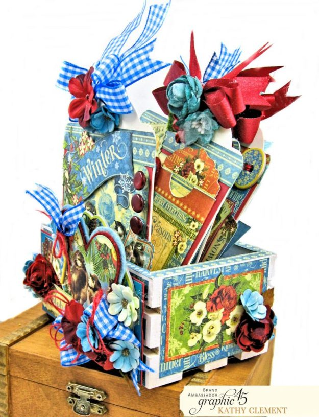 Graphic 45 Seasons Altered Mini Crate and Tags by Kathy Clement Photo 04