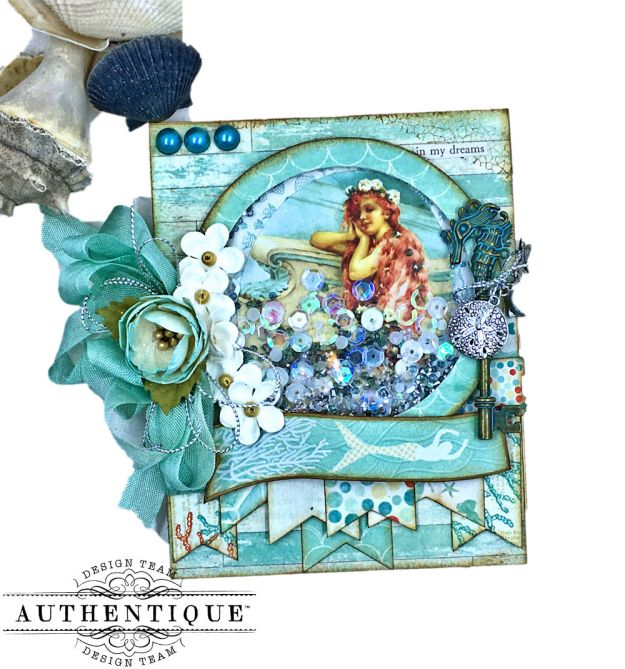 Be Mermazing Mermaid Shaker Card Sea Maiden by Kathy Clement Product by Authentique Photo 01