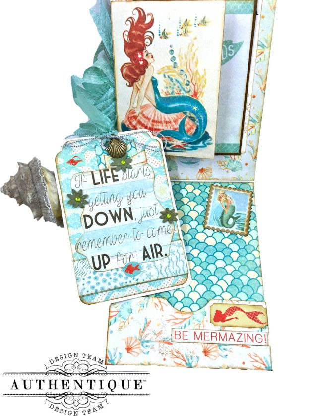 Be Mermazing Mermaid Shaker Card Sea Maiden by Kathy Clement Product by Authentique Photo 03