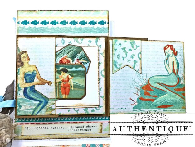 Sea of Tranquility Card Folio Tutorial Sea Maiden by Kathy Clement Product by Authentique Photo 09