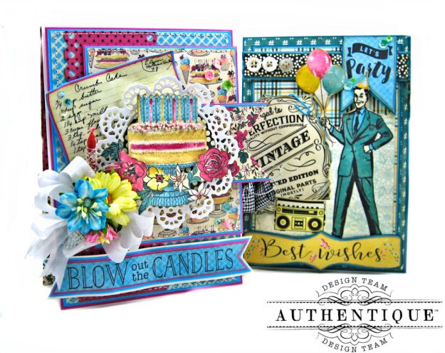 His and Hers Birthday Card Folios Party by Kathy Clement Product by Authentique Paper Photo 01