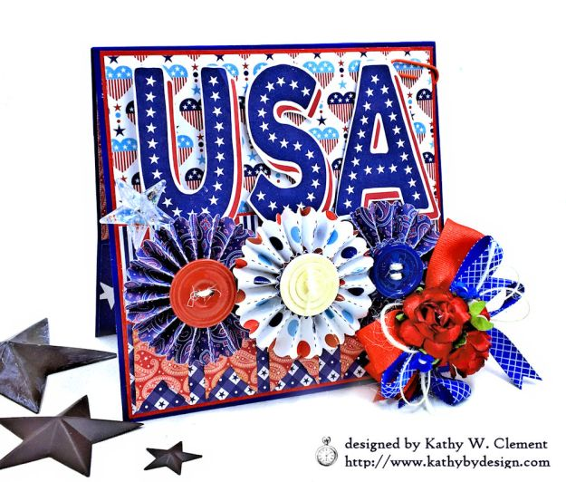 Red White and Blue Patriotic Greeting Card United by Kathy Clement for Really Reasonable Ribbon Product by Authentique Photo 01