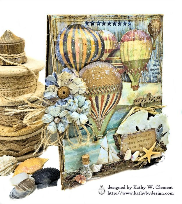 Sea Dreams Mixed Media Card Sea Land by Kathy Clement Product by Stamperia Photo 02