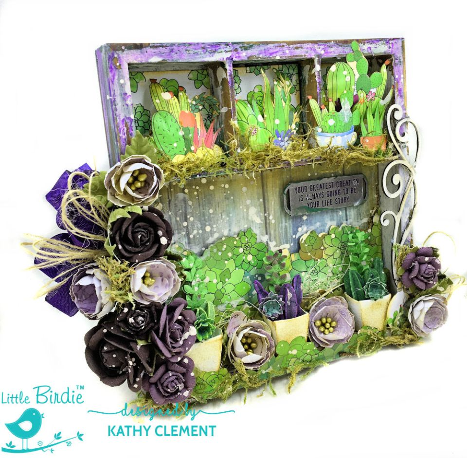 Succulent Garden Shadow Box Tutorial Succulent Garden by Kathy Clement Product by Little Birdie Crafts Photo 01
