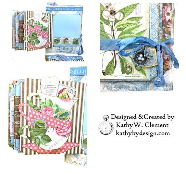 Graphic 45 Botanical Tea Songbird Folio by Kathy Clement for the Funkie Junkie Boutique Photo 07