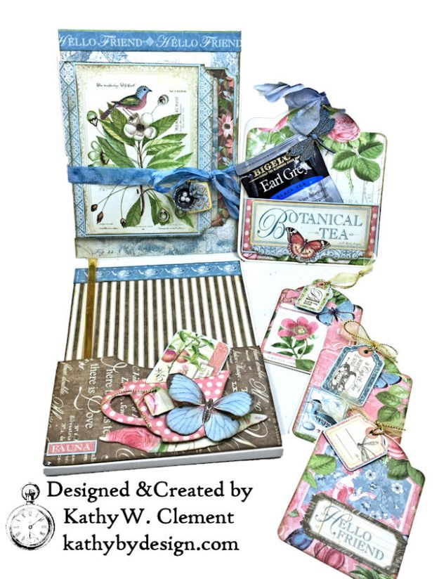Graphic 45 Botanical Tea Songbird Folio by Kathy Clement for the Funkie Junkie Boutique Photo 10
