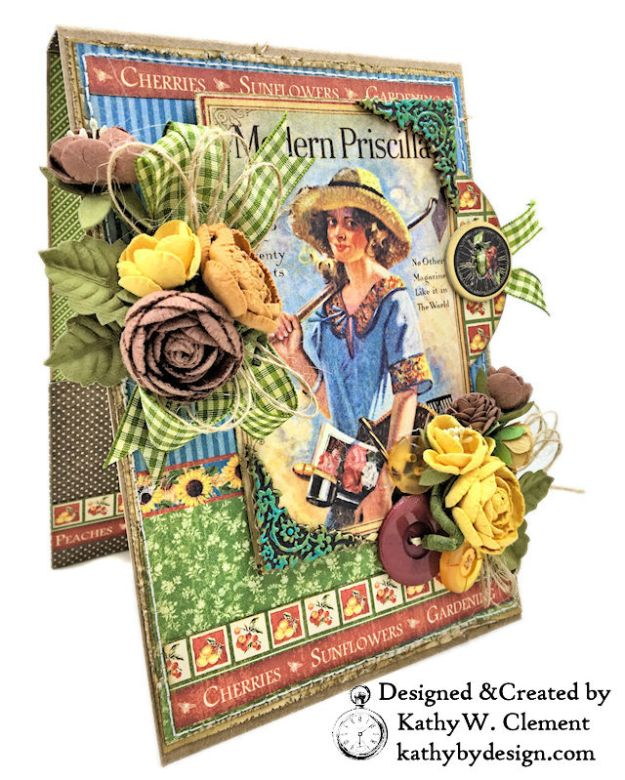 Graphic 45 Place in Time Garden Themed Birthday Card Tutorial by Kathy Clement Photo 03
