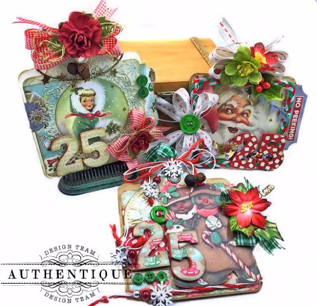 Authentique Jingle Gift Card Ornament Tags Video Tutorial by Kathy Clement Photo 01