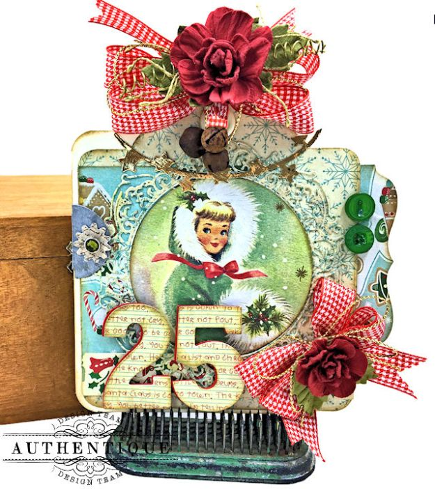 Authentique Jingle Gift Card Ornament Tags Video Tutorial by Kathy Clement Photo 07