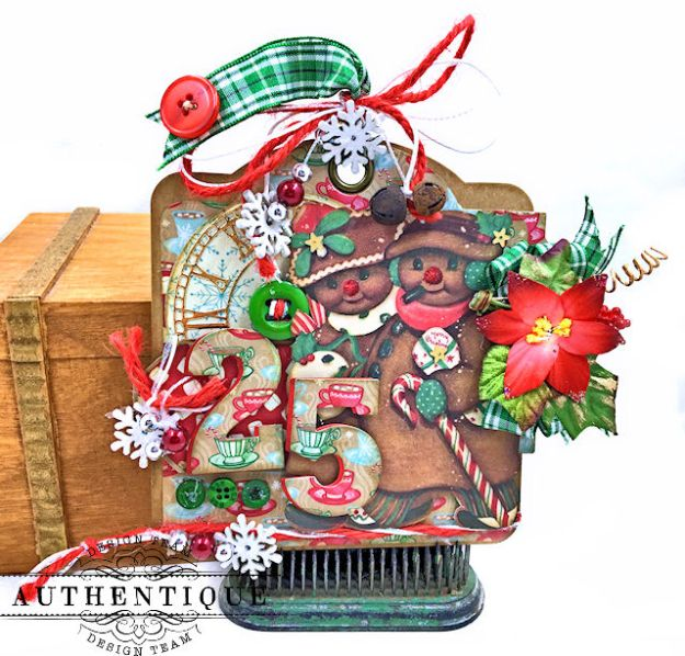 Authentique Jingle Gift Card Ornament Tags Video Tutorial by Kathy Clement Photo 04