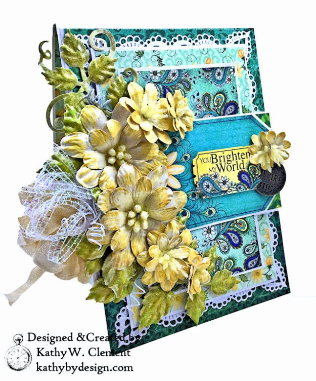 Heartfelt Creations Delightful Daisies Peacock Paisley Card Folio by Kathy Clement Photo 03