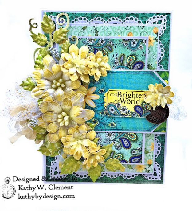 Heartfelt Creations Delightful Daisies Peacock Paisley Card Folio by Kathy Clement Photo 02
