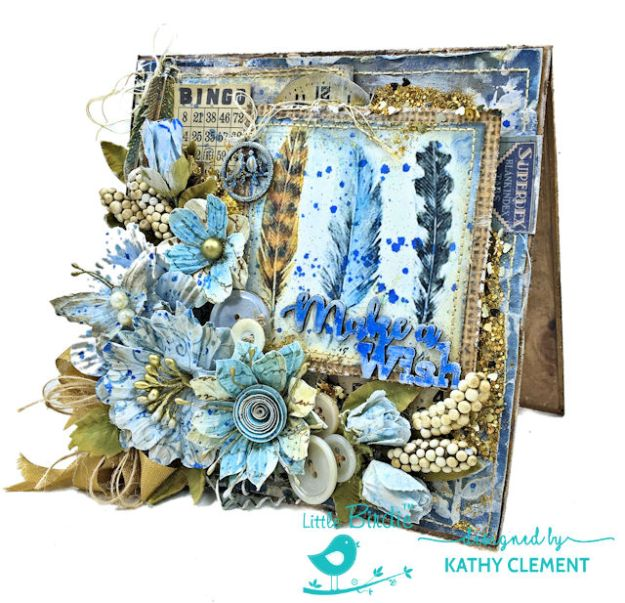 Make a Wish Mixed Media Birthday Card by Kathy Clement for Little Birdie Crafts Photo 02