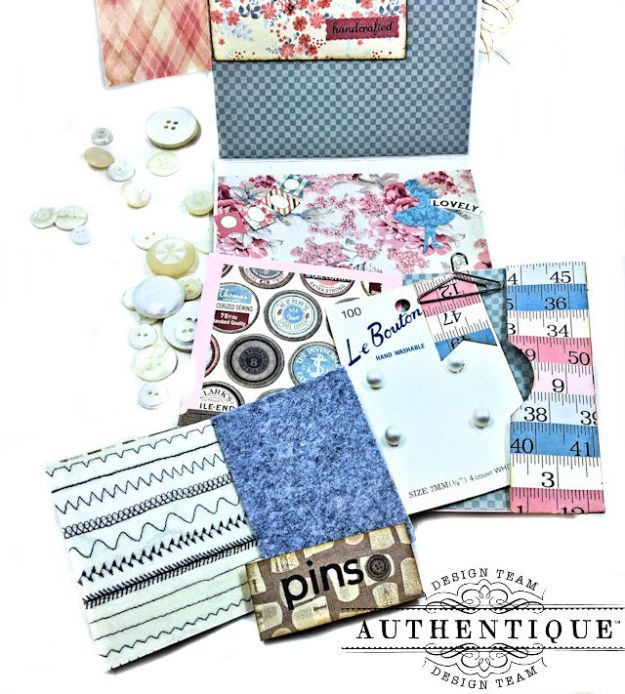 Authentique Stitches Collection Meets Card Maps Sewing Themed Greeting Card by Kathy Clement Product by Authentique Photo 12