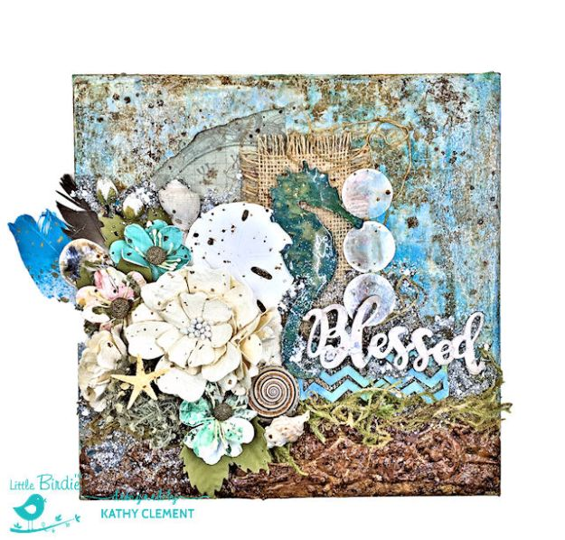 Sea Flowers Mixed Media Canvas Tutorial by Kathy Clement Product by Little Birdie Crafts Photo 01