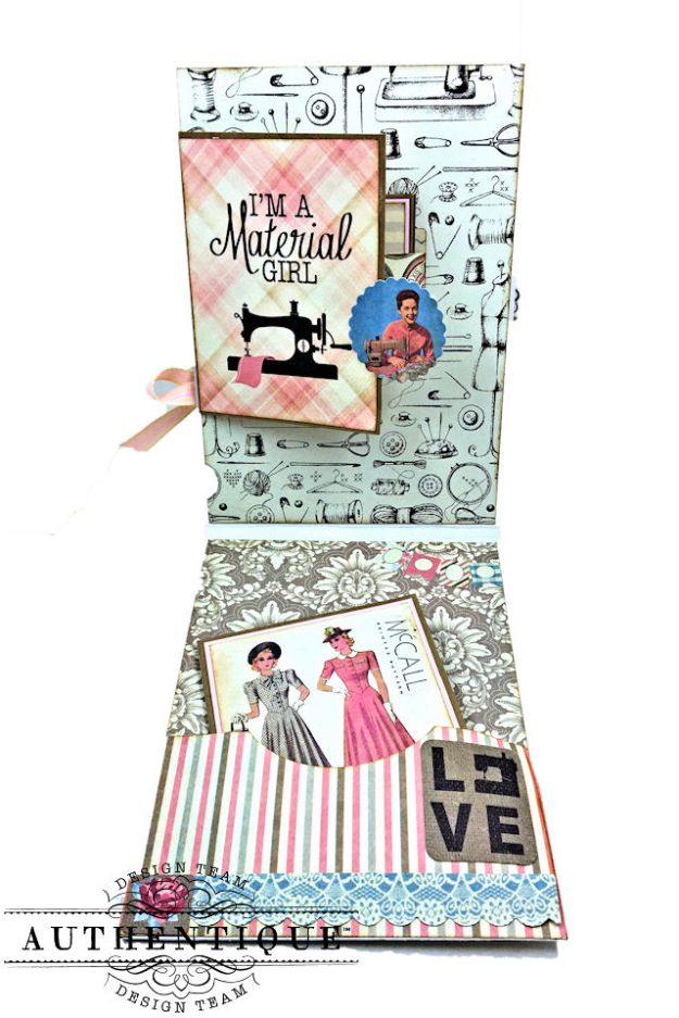 Authentique Stitches Collection Meets Card Maps Sewing Themed Greeting Card by Kathy Clement Product by Authentique Photo 03