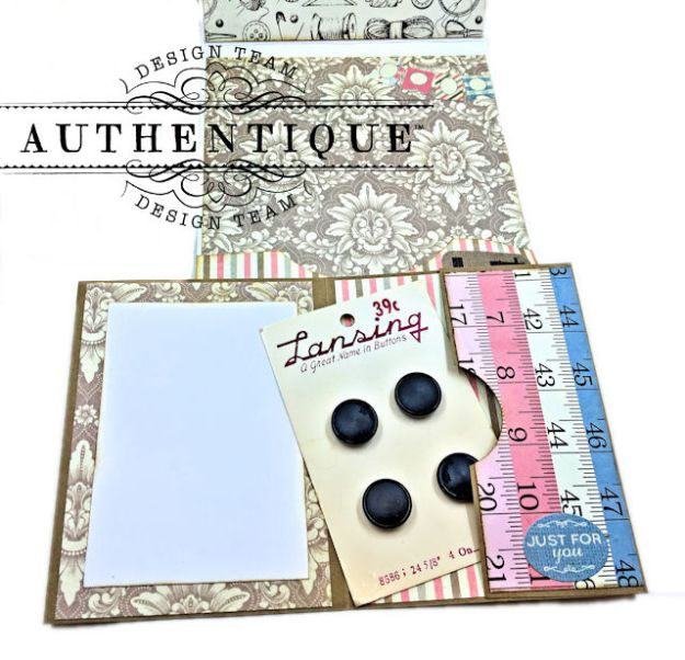 Authentique Stitches Collection Meets Card Maps Sewing Themed Greeting Card by Kathy Clement Product by Authentique Photo 06