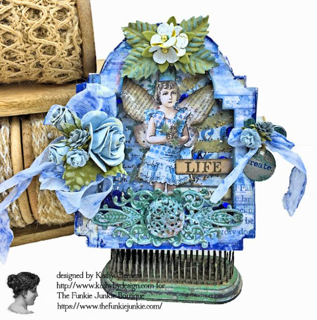 Kindness Can Change the World Shaker Triptych Tutorial Stamperia Blue Stars Tim Holtz Vintage Cabinet Card by Kathy Clement for The Funkie Junkie Boutique Photo 03