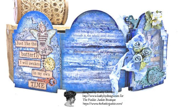 Kindness Can Change the World Shaker Triptych Tutorial Stamperia Blue Stars Tim Holtz Vintage Cabinet Card by Kathy Clement for The Funkie Junkie Boutique Photo 06