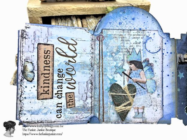 Kindness Can Change the World Shaker Triptych Tutorial Stamperia Blue Stars Tim Holtz Vintage Cabinet Card by Kathy Clement for The Funkie Junkie Boutique Photo 08
