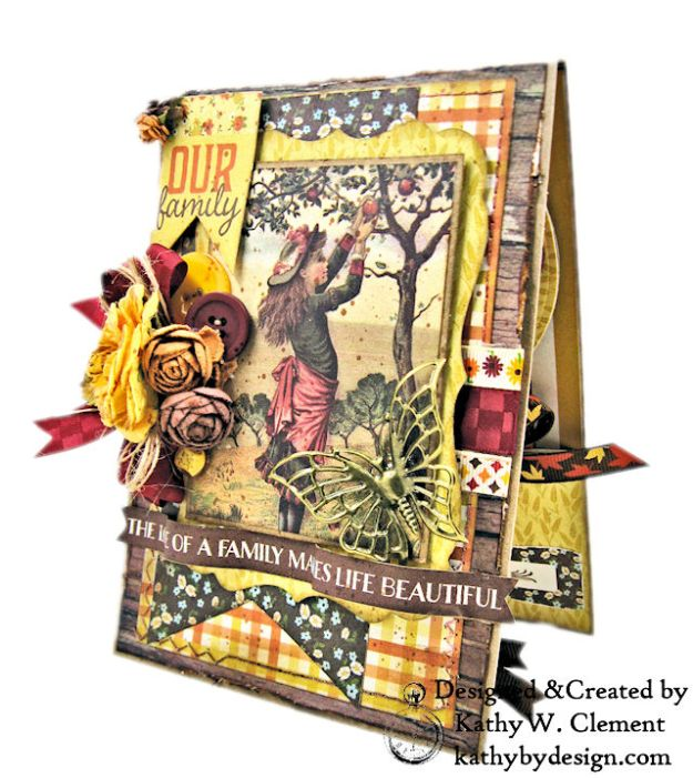 Apple Picking Birthday Card Folio Pleasant by Kathy Clement for Really Reasonable Ribbon Product by Authentique Photo 02
