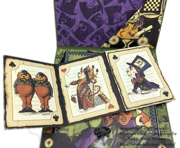 Graphic 45 Halloween in Wonderland Mixed Media Cards Tutorial by Kathy Clement for The Funkie Junkie Boutique Photo 04