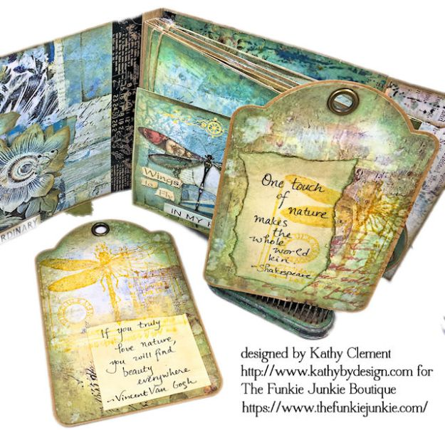 Dragonfly Days Pocket and Tag Folio Tutorial Wonderland by Kathy Clement for the Funkie Junkie Boutique Product by Stamperia Photo 09
