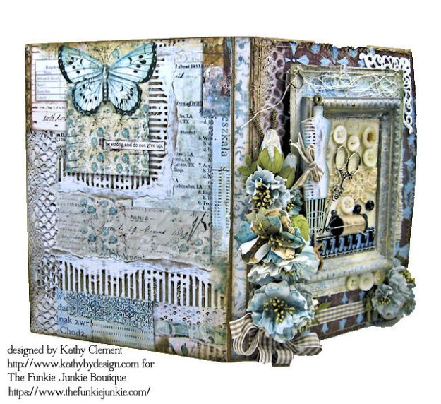 Stamperia Atelier Sewing Themed Folio with Tutorial by Kathy Clement for the Funkie Junkie Boutique Photo 05