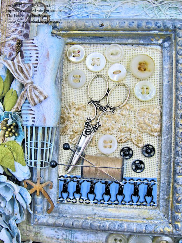 Stamperia Atelier Sewing Themed Folio with Tutorial by Kathy Clement for the Funkie Junkie Boutique Photo 04