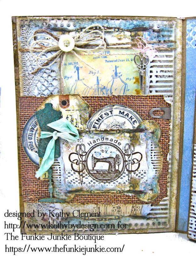 Stamperia Atelier Sewing Themed Folio with Tutorial by Kathy Clement for the Funkie Junkie Boutique Photo 08